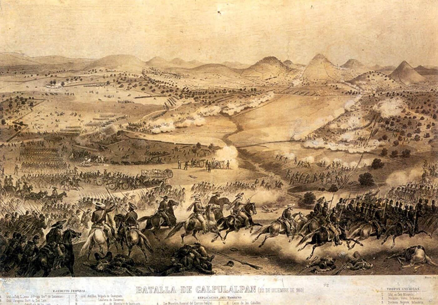 Lámina de la Batalla de Calpulalpan.