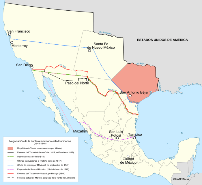 División estipulada por el Tratado de Guadalupe 1848.