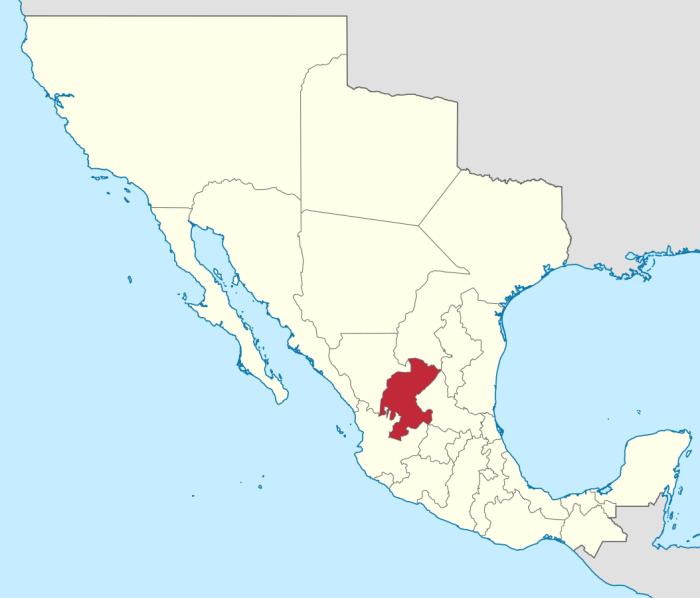 Mapa del Estado de Zacatecas y sus fronteras.