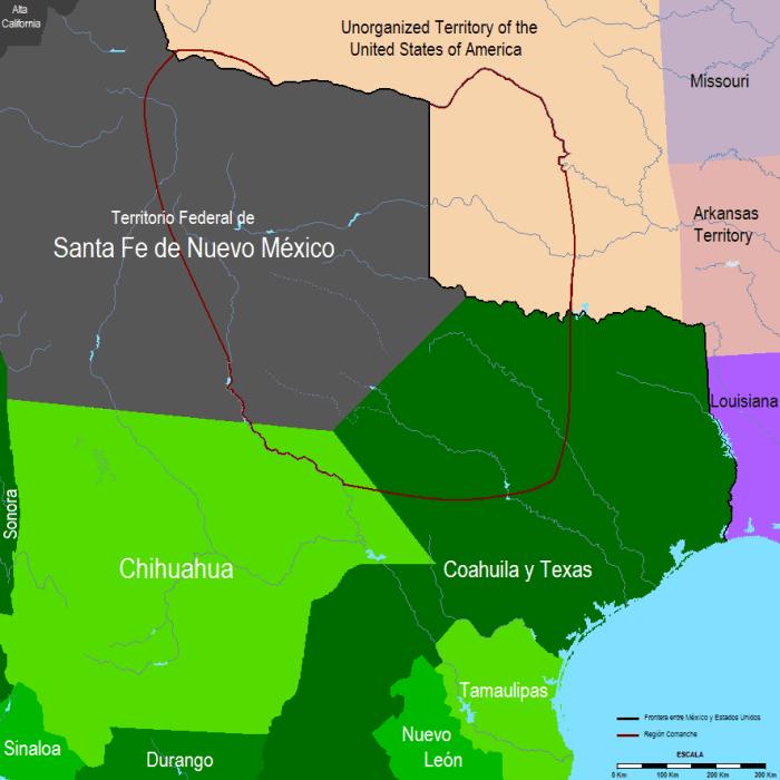 México en 1832 con las fronteras de la Comanchería