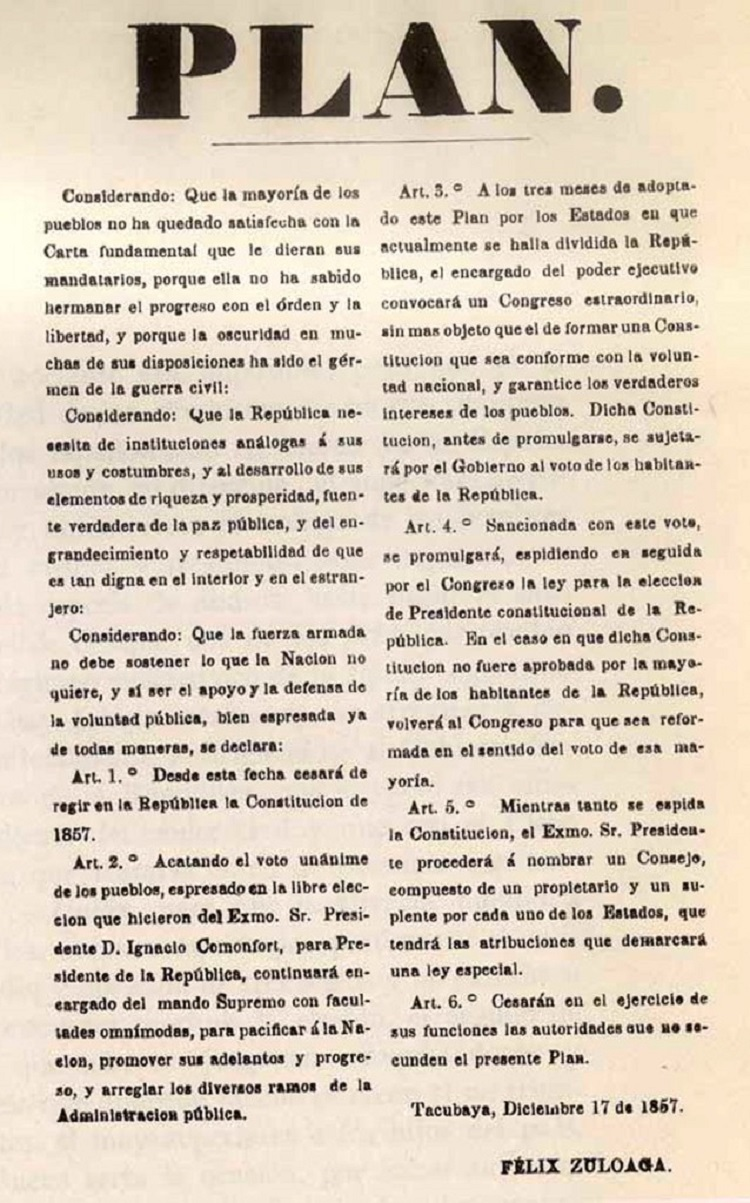 Fotografía del Plan de Tacubaya (1857).