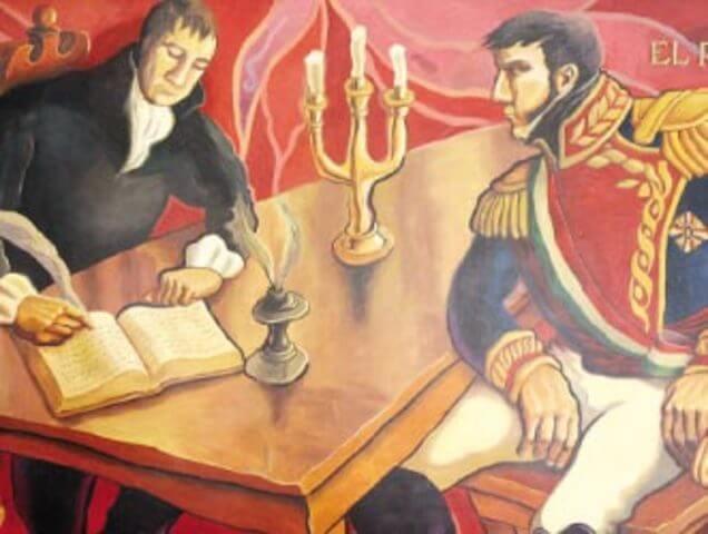 Pintura sobre la firma del Tratado de Córdoba