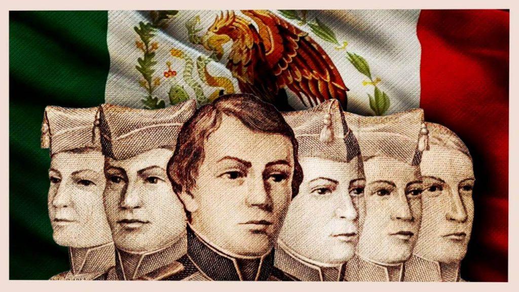 """Imagen conmemorativa de los """"Niños héroes"""" que formaron parte de la Batalla en el Castillo de Chapultepec."""