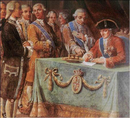 Firma del tratado de libre comercio con América en 1778