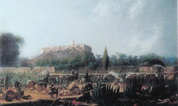 Pintura que representa la Batalla del Castillo de Chapultepec (1847).