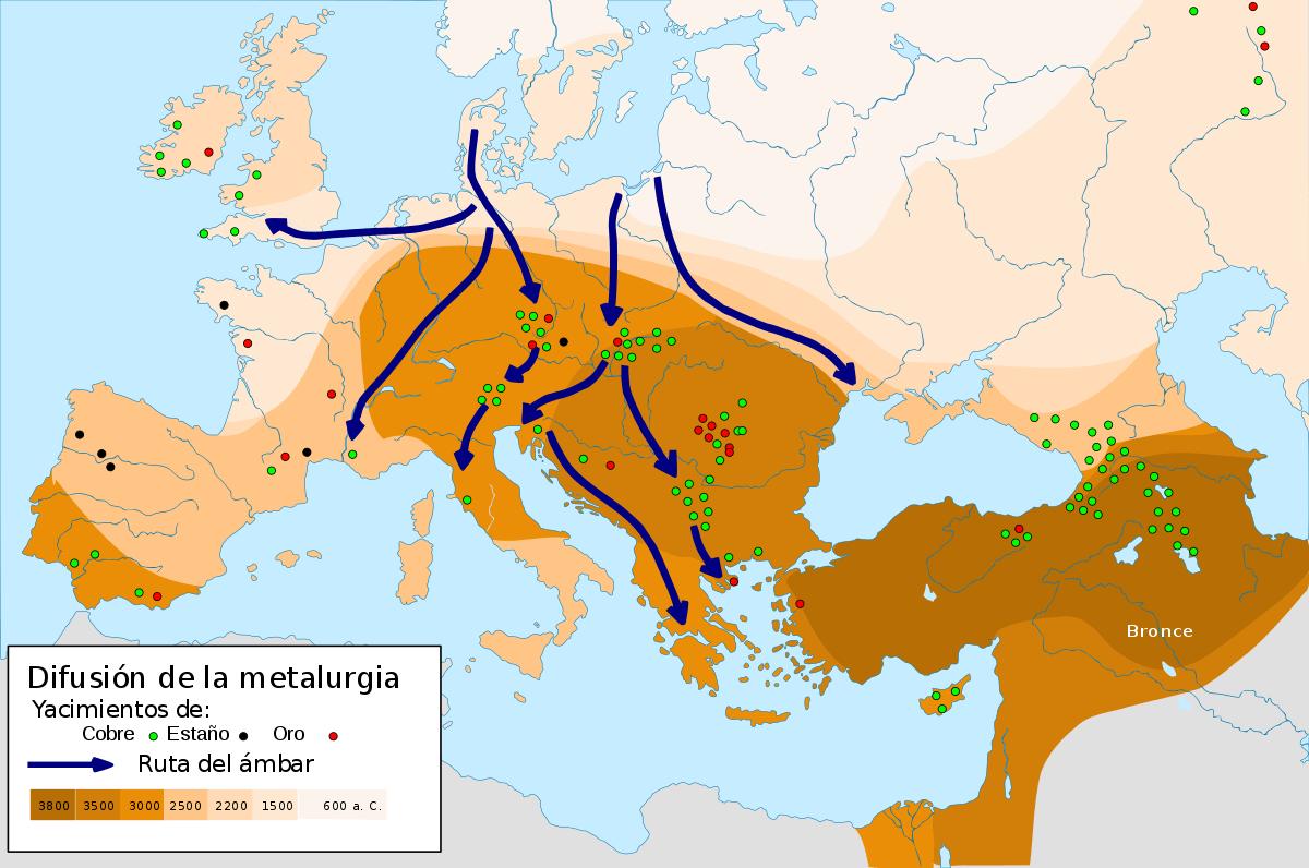 Mapa de la difusión metalúrgica durante el Bronce Antiguo.