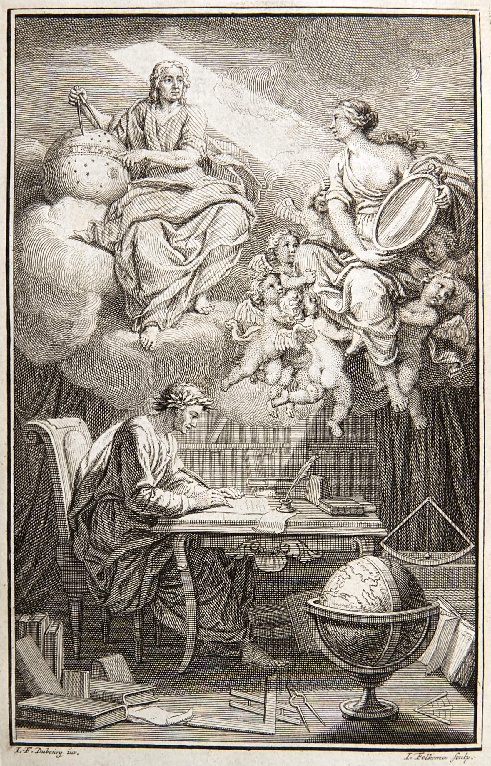 """Portada de """"Elementos de la filosofía"""" de Newton, año 1738."""