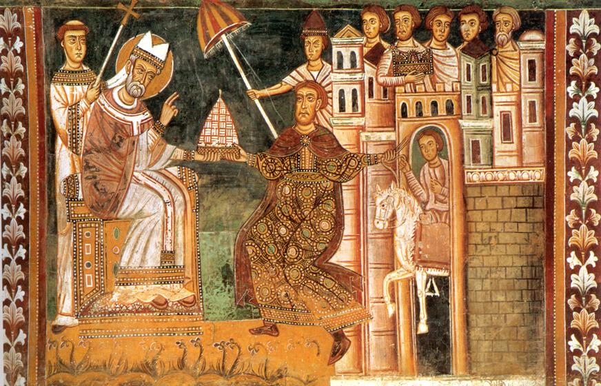 Fresco del siglo XIII, capilla de San Silvestre, monasterio de los Cuatro Santos Coronados.