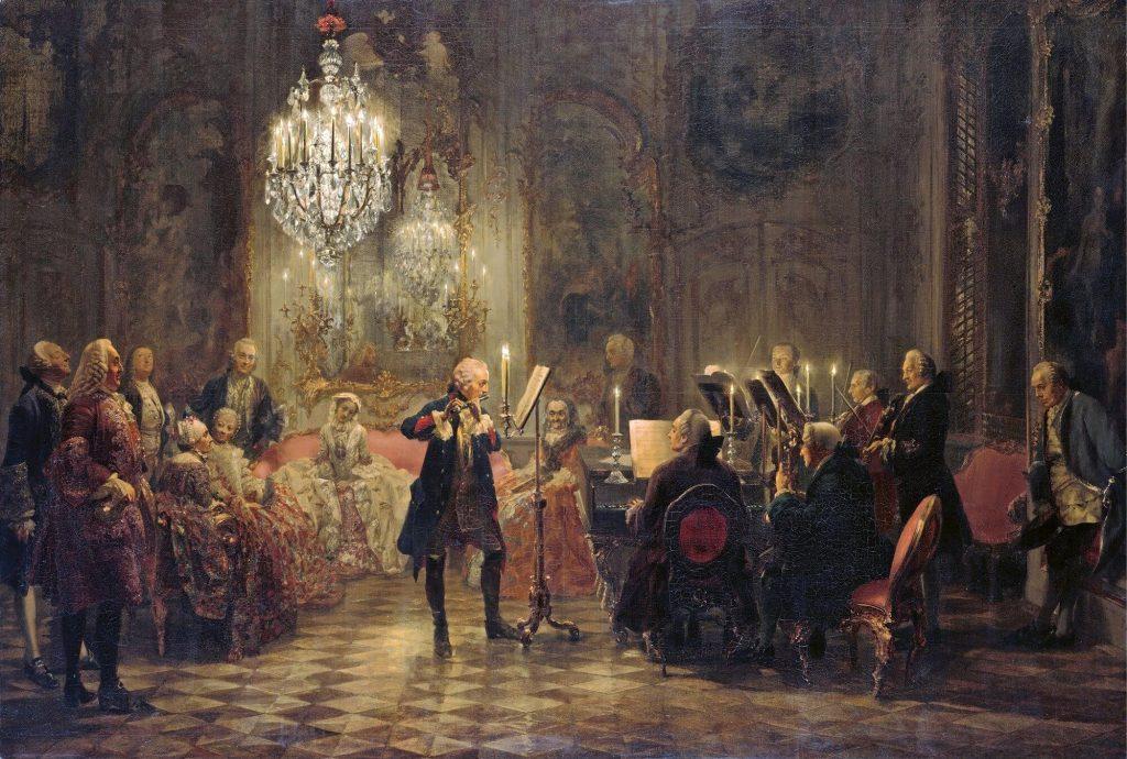 """""""Federico II tocando la flauta travesera en un concierto en el palacio de Sanssouci. Óleo por A. A. von Henzel. Siglo XIX."""