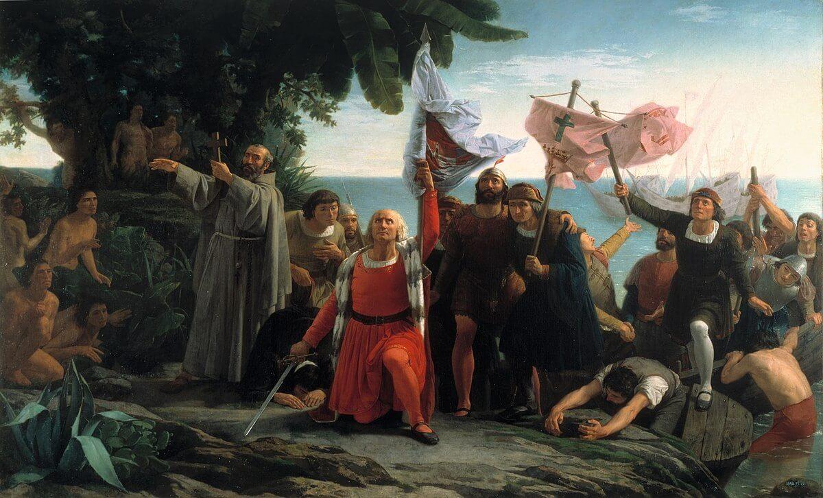 llegada de Cristóbal Colón a América (Dióscoro Puebla, 1862).