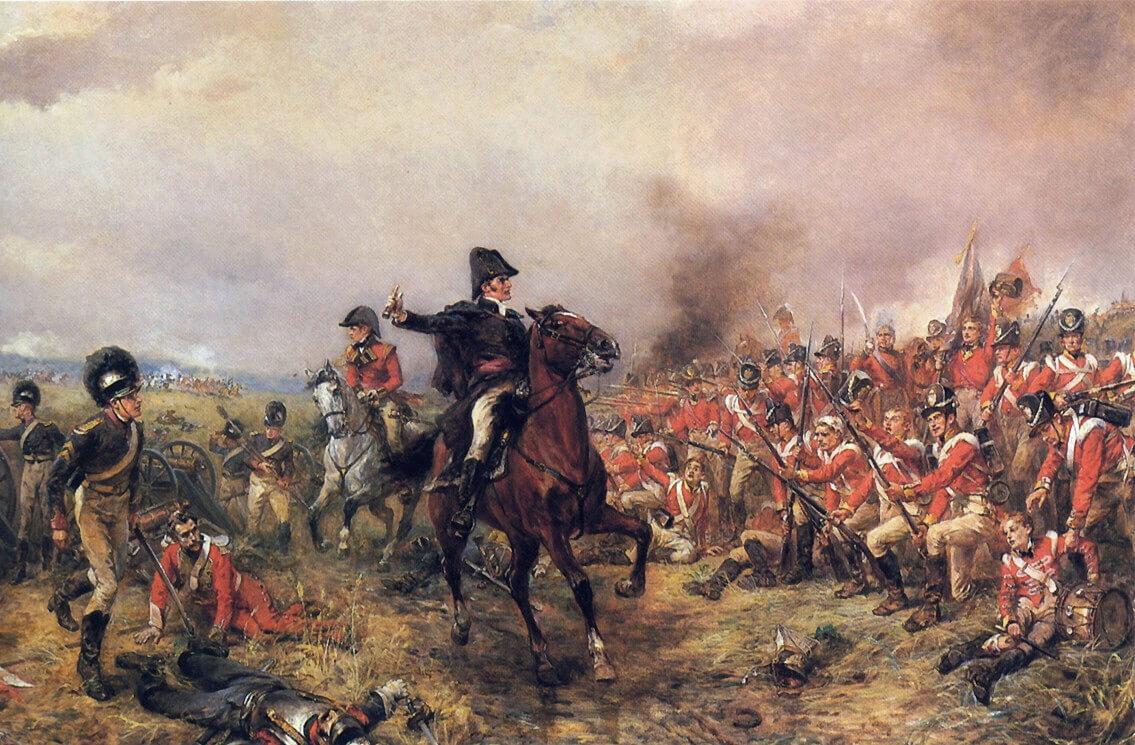 Arthur Wellesley comandando a los británicos en Waterloo.