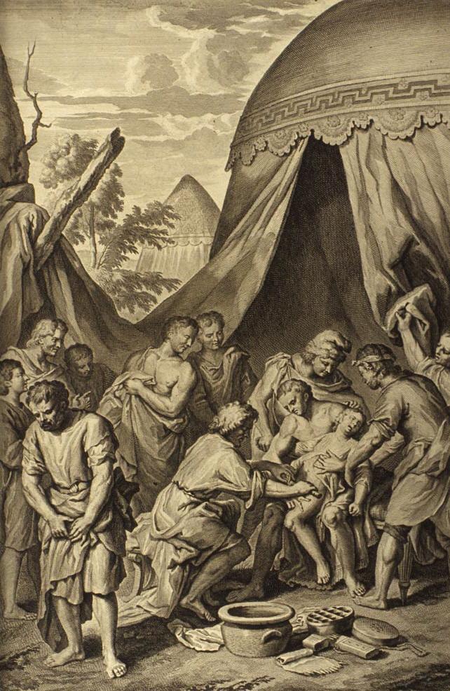 Circuncisión de Ismael. Grabado de Gerard Hoet, 1728.