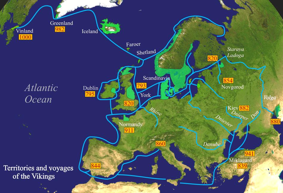 Expediciones y asentamientos vikingos.