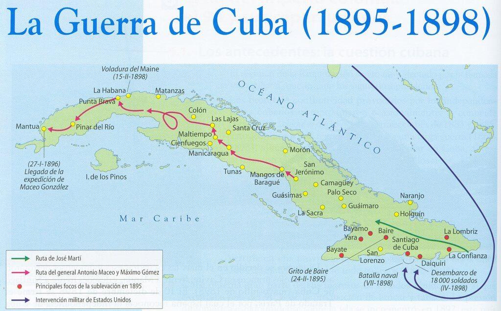 Mapa de los movimientos a lo largo de la Guerra de Cuba (1895-1898).