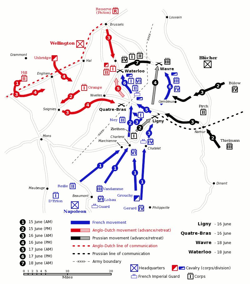 Mapa de la campaña de Waterloo.
