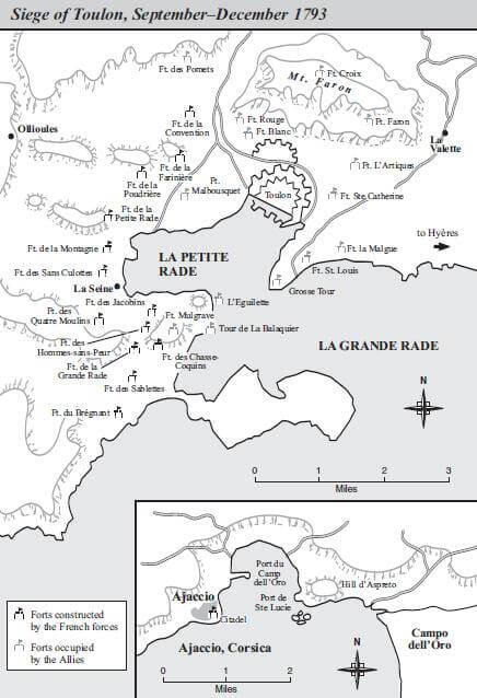 Mapa de los fuertes durante el asedio de Tolón.