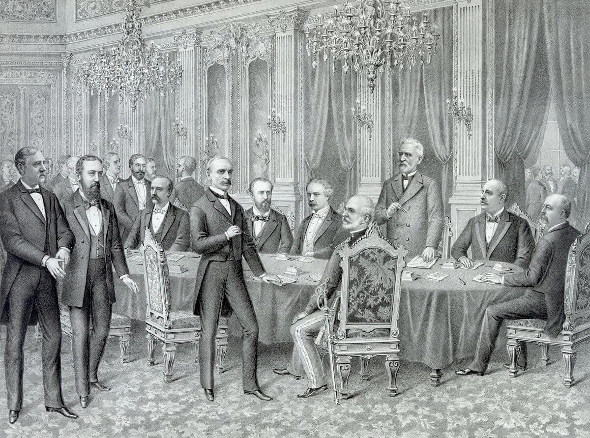 Firma del Tratado de París entre los Estados Unidos de América y el Reino de España.