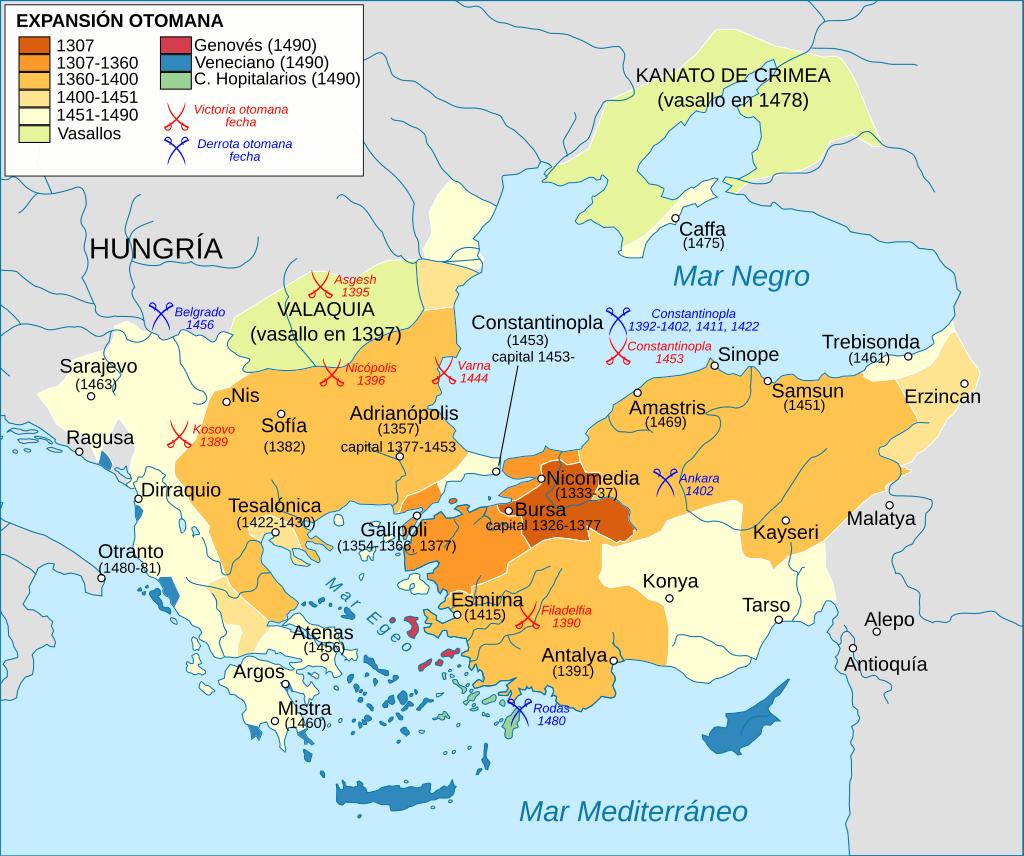 Expansión territorial otomana en los siglos XIV y XV.