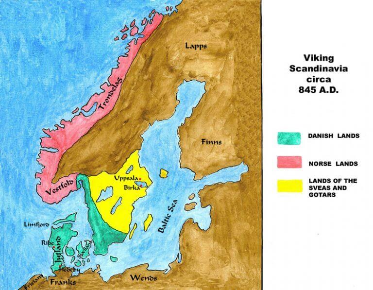 Mapa de Escandinavia durante la era vikinga.