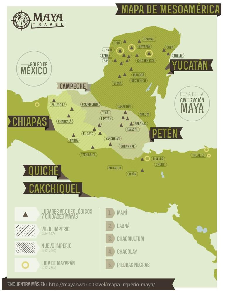 La región maya en Mesoamérica.