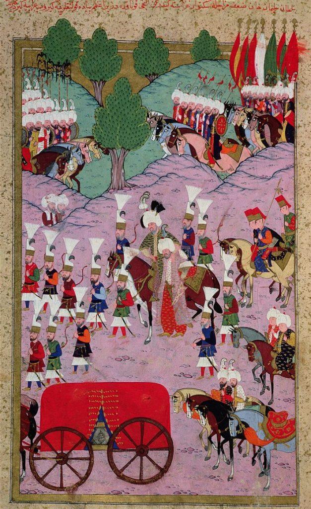Ejército de Solimán el Magnífico marchando hacia Europa.