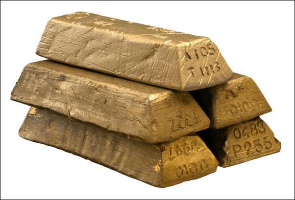 Fotografía de lingotes de oro.