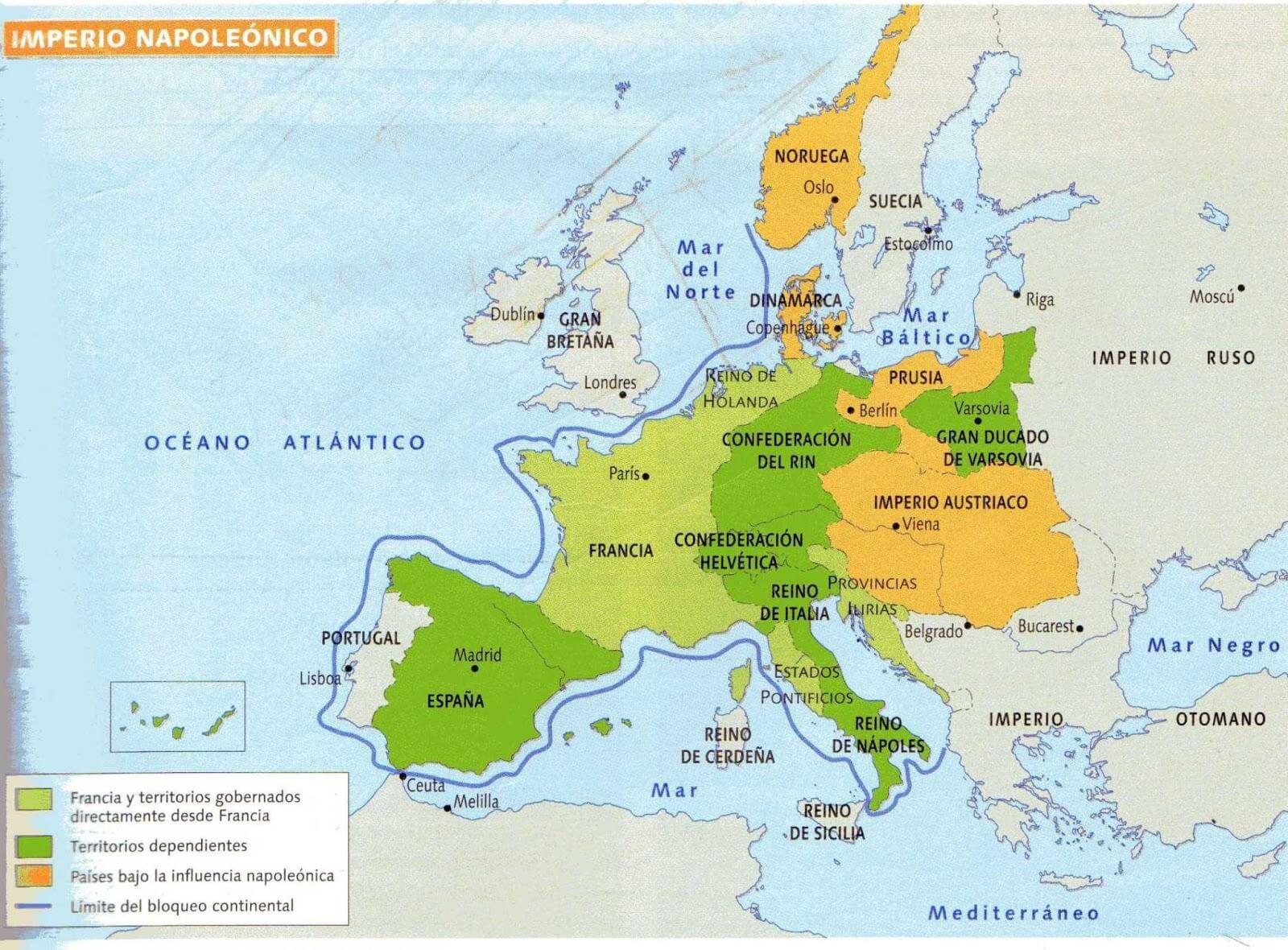 Extensión del Imperio napoleónico.