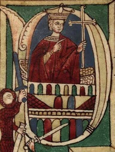 Don Pelayo según una miniatura medieval.