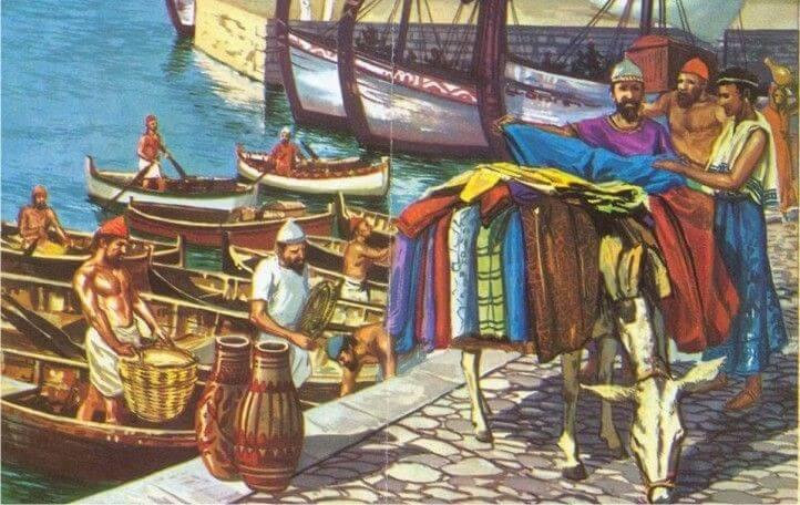Ilustración del comercio y el trueque en la antigüedad.