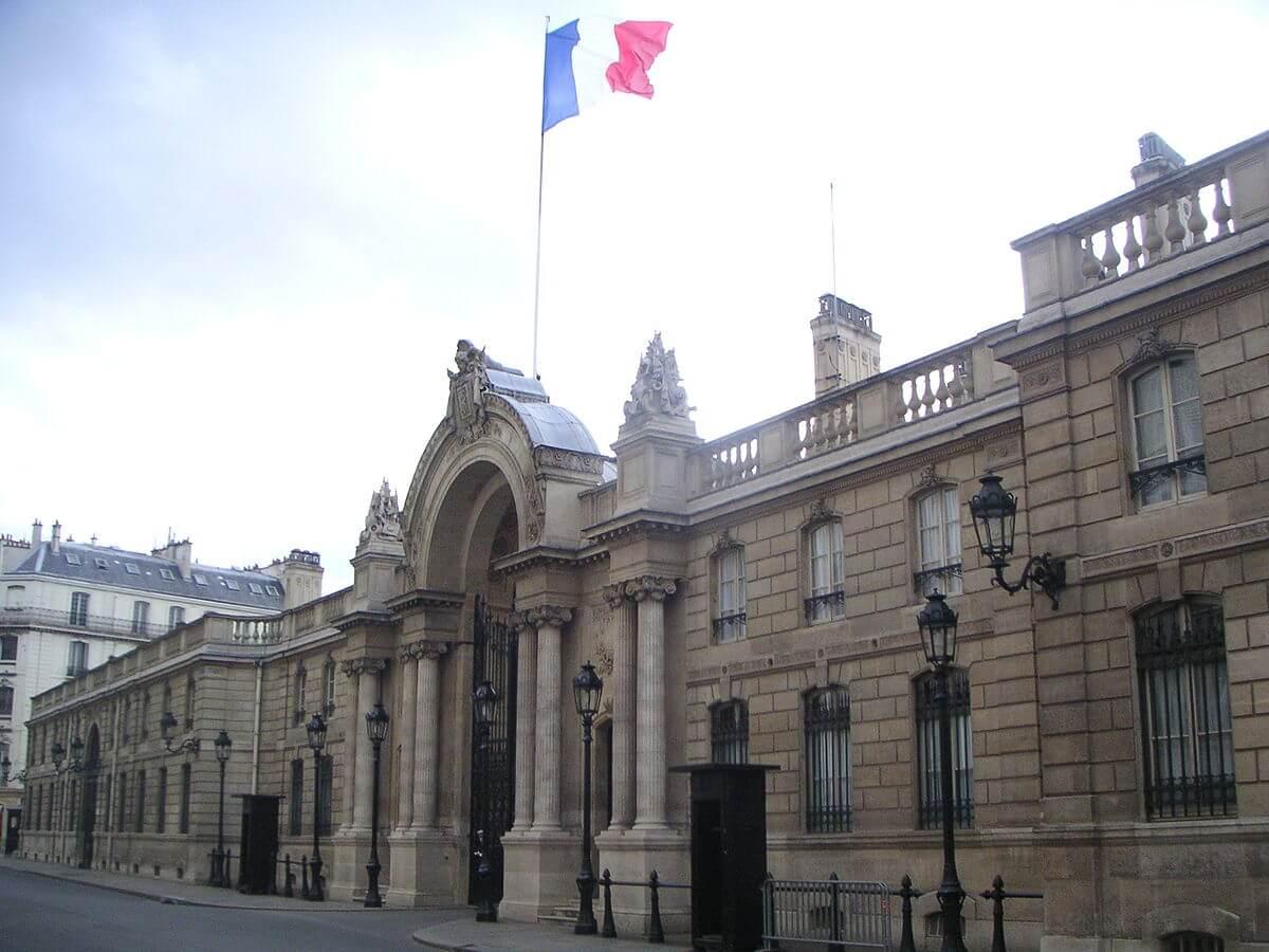 Palacio del Elíseo, residencia del presidente de la República, y sede del Poder Ejecutivo.