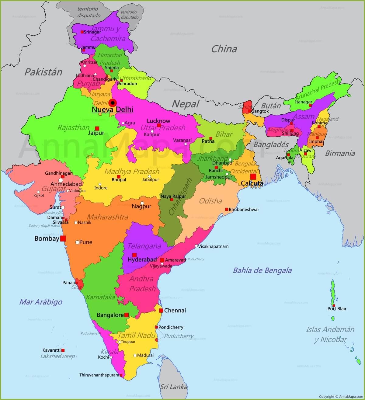 Mapa actual de la india.