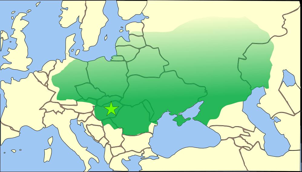 Ubicación del Imperio de los hunos.