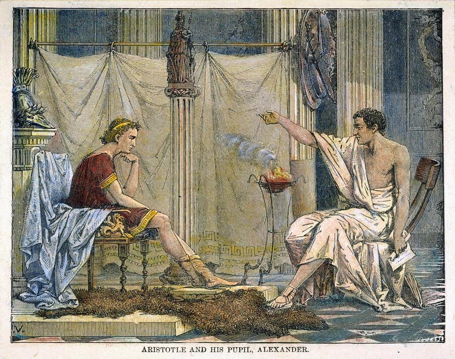 Alejandro Magno y Aristóteles.