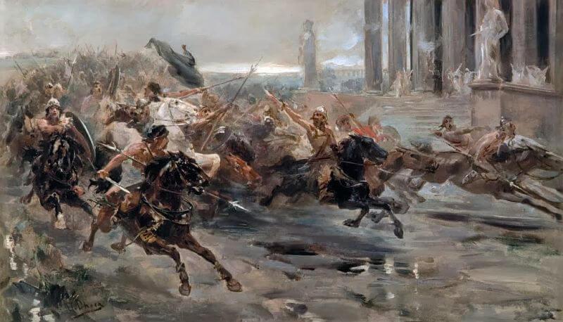 Atila y sus hunos invadiendo Italia, realizado por Ulpiano Checa.