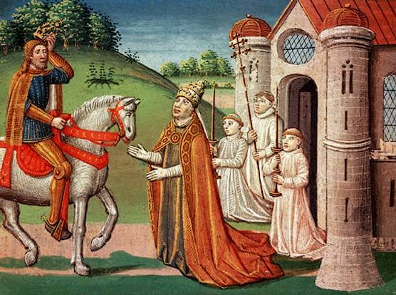 El papa solicitando la asistencia de Carlomagno.
