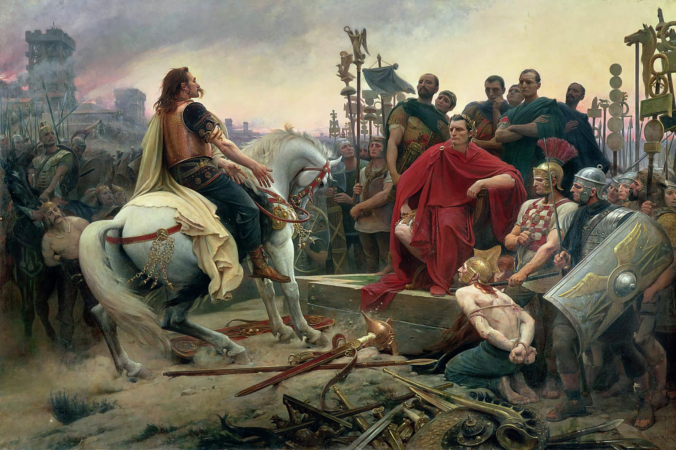 Vercingétorix depone sus armas a los pies de César.