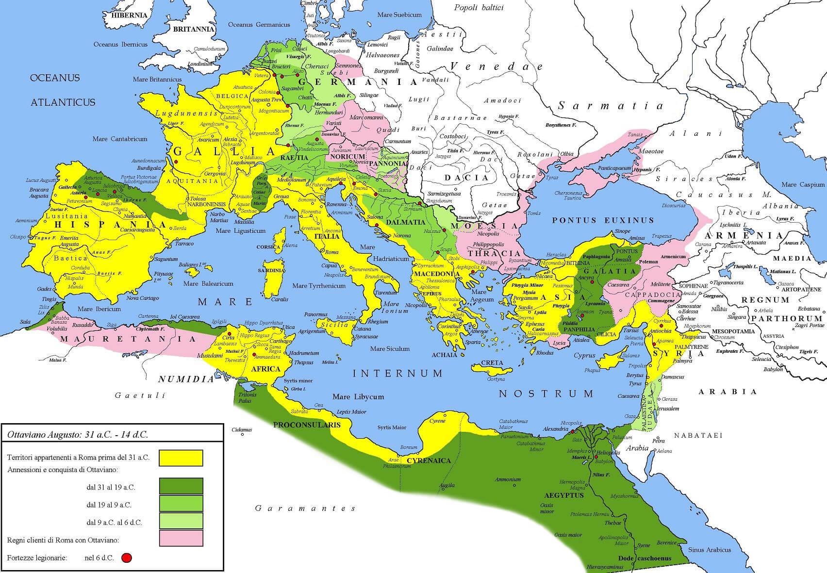 Extensión del Imperio romano bajo César Augusto (31 a. C.-6 d. C.).