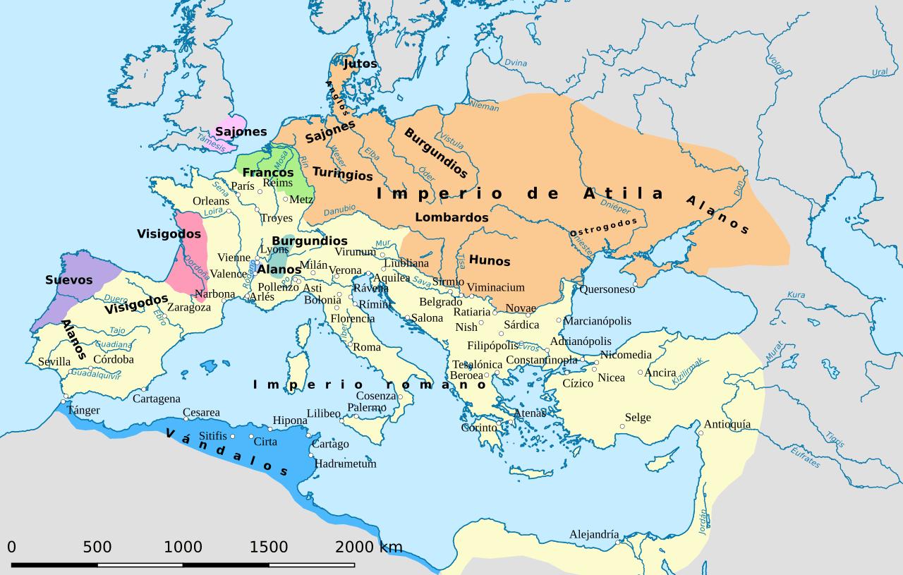 El mundo del Mediterráneo sobre el 450 d. C.