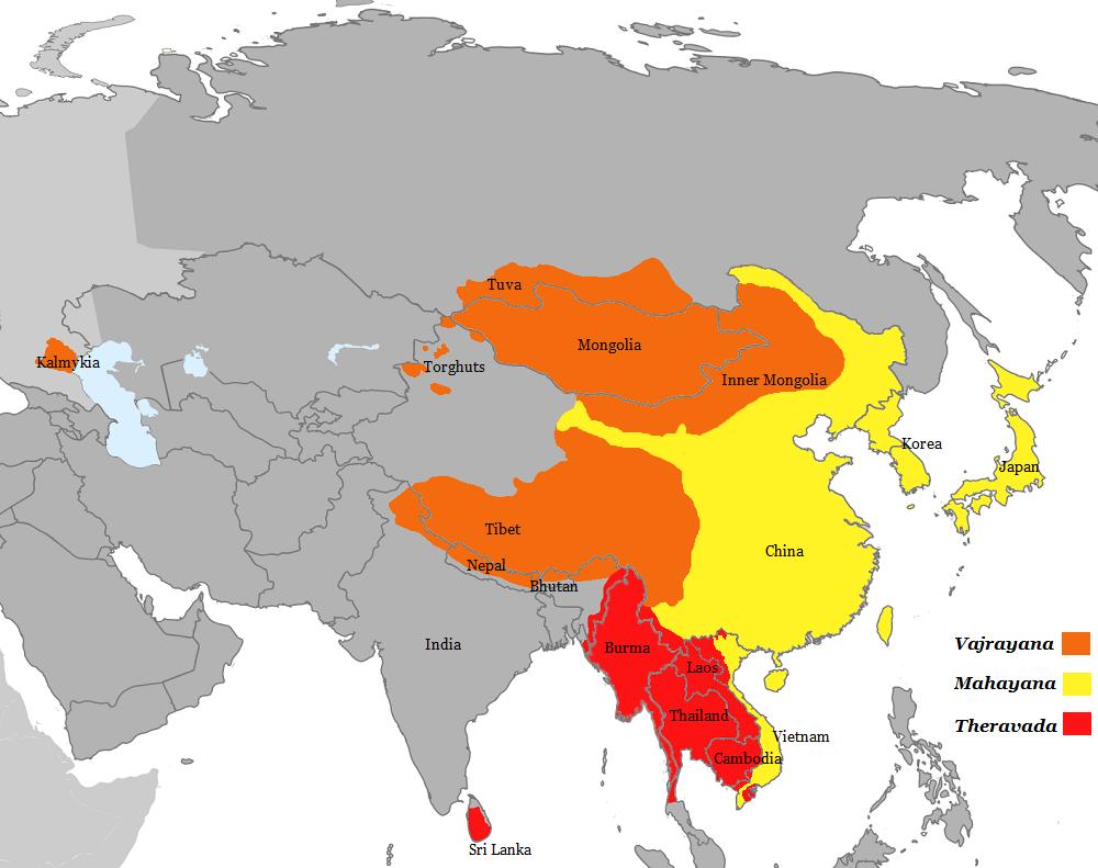 Mapa que muestra las tres principales divisiones budistas.