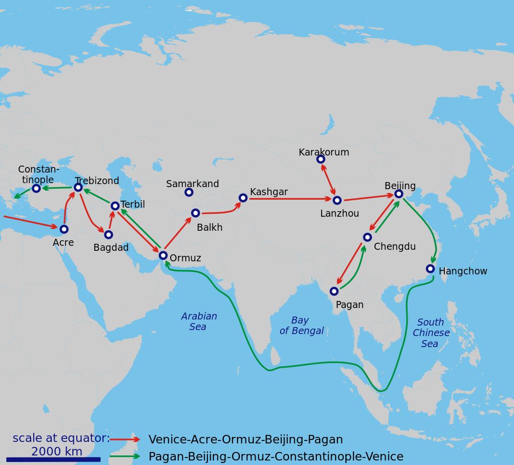 Mapa de los viajes de Marco Polo en 1271-1295.