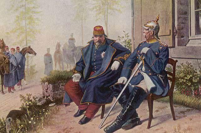 Otto von Bismarck y Napoleón III tras la batalla de Sedán.