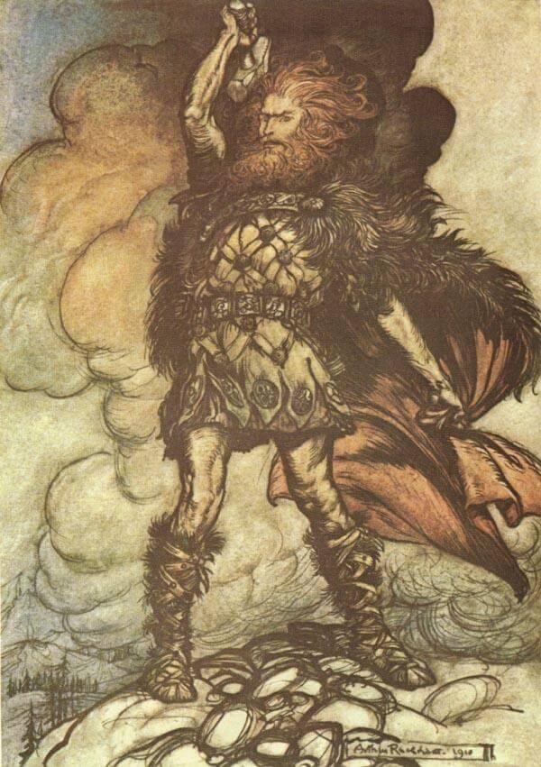 Thor en una ilustración de Arthur Rackham en la obra escrita de Richard Wagner El Oro del Rhin y La Valkiria.