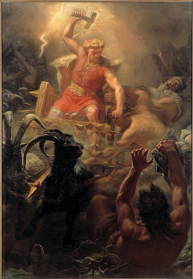Thor en la batalla contra los gigantes, de Mårten Eskil Winge, 1872.