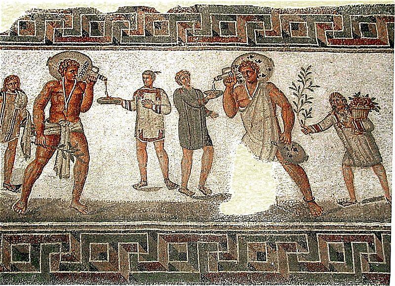 . Mosaico de mediados del siglo III con imágenes de esclavos de Dougga, Túnez.