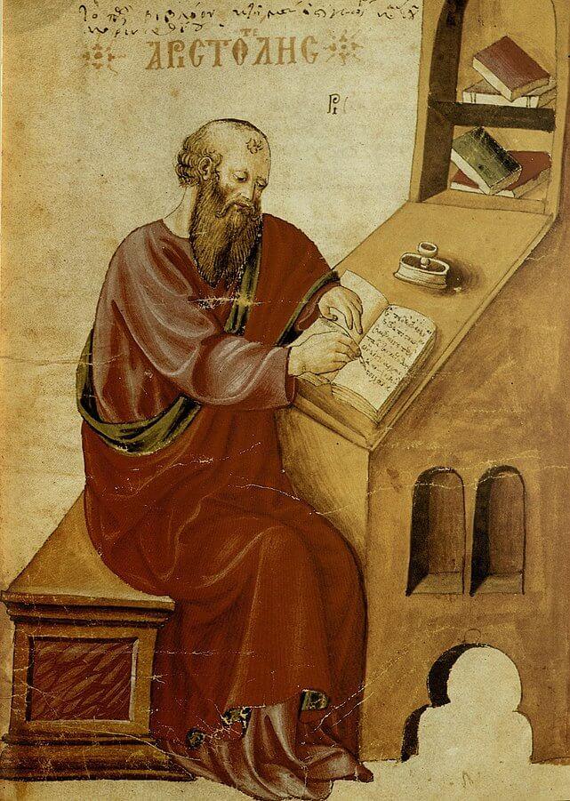 Aristóteles según un manuscrito de su Historia naturalis de 1457.