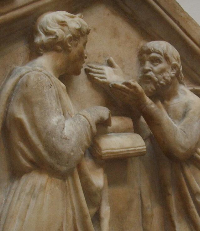 Escultura, Platón enseñando a Aristóteles.