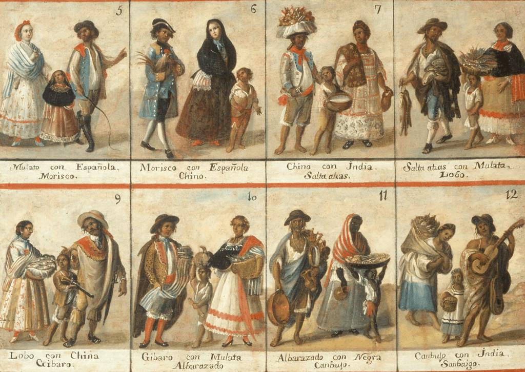 pinturas de las castas en las que se ilustraba las clasificaciones