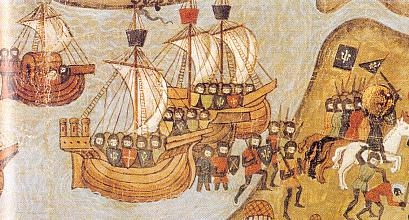 Caballeros franceses de la quinta cruzada llegan al fuerte de Damieta (actual Egipto) en 1249