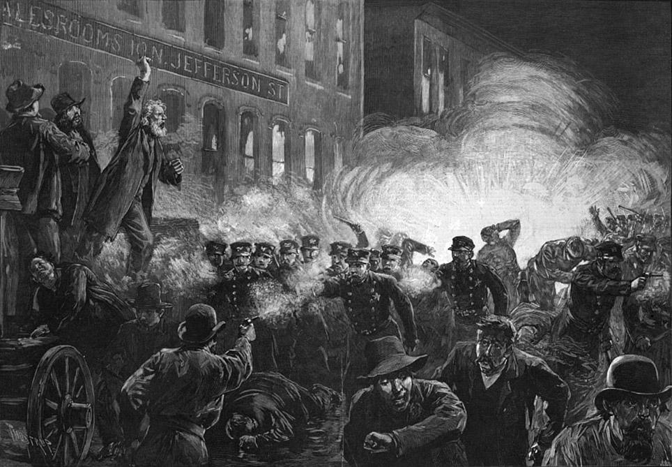 Representación artística de la revuelta de Haymarket