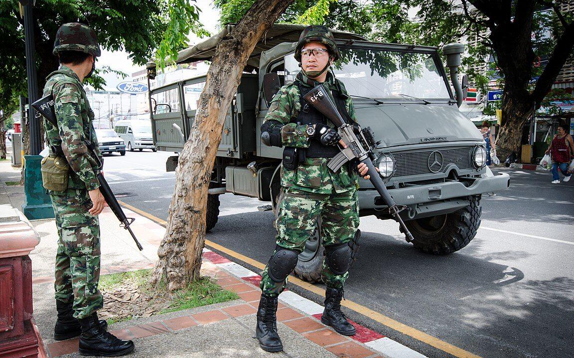 Militares en Chiang Mai, 2014.